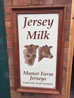 Image of Manor Farm Jerseys Milk Vending Machine sign at Scaftworth King William